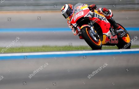 Spanish MotoGP rider Jorge Lorenzo of Repsol Honda Team in action during the third free practice session of the Motorcycling Grand Prix of Thailand at Chang International Circuit, Buriram province, Thailand, 05 October 2019.
