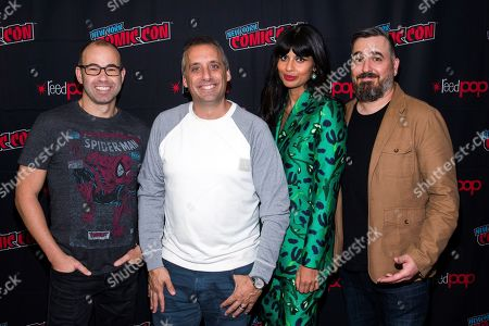 "Jameela Jamil, James ""Murr"" Murray, Joe Gatto, Brian ""Q"" Quinn. James ""Murr"" Murray, from left, Joe Gatto, Jameela Jamil and Brian ""Q"" Quinn attend New York Comic Con to promote TBS's ""The Misery Index"" at the Jacob K. Javits Convention Center, in New York"