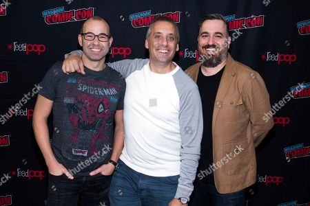 "Jameela Jamil, James ""Murr"" Murray, Joe Gatto, Brian ""Q"" Quinn. James ""Murr"" Murray, from left, Joe Gatto and Brian ""Q"" Quinn attend New York Comic Con to promote truTV's ""Impractical Jokers"" at the Jacob K. Javits Convention Center, in New York"