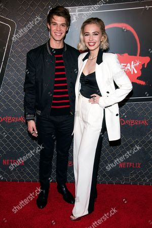 "Colin Ford and Sophie Simnett attend New York Comic Con to promote Netflix's ""Daybreak"" at the Jacob K. Javits Convention Center, in New York"
