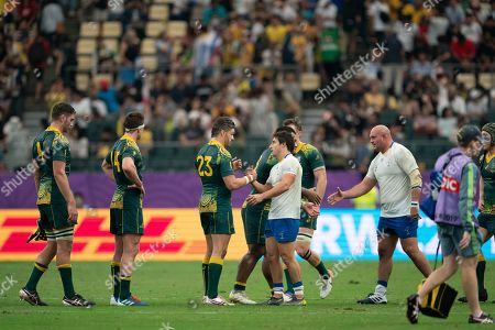 Santiago Arata of Uruguay and Adam Ashley-Cooper of Australia (L-3) react after the Rugby World Cup match between Australia and Uruguay in Oita, Japan, 05 October 2019.