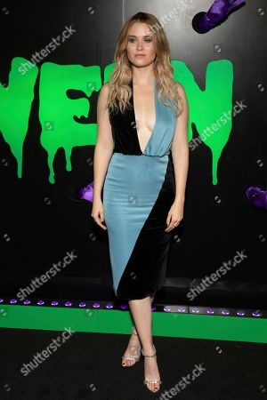 """Virginia Gardner attends Hulu's """"Huluween"""" television program lineup celebration during New York Comic Con at Huluween HQ, in New York"""