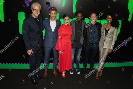 "Tim Robbins, Paul Sparks, Lizzy Caplan, Barkhad Abdi, Matthew Alan, Yusra Warsama. Actors Tim Robbins, from left, Paul Sparks, Lizzy Caplan, Barkhad Abdi, Matthew Alan, and Yusra Warsama attend Hulu's ""Huluween"" television program lineup celebration during New York Comic Con at Huluween HQ, in New York"