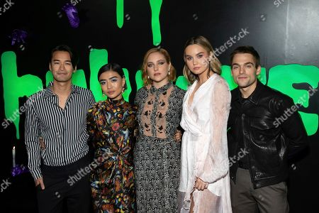 "Stock Picture of Jordan Rodrigues, Brianne Tju, Haley Ramm, Liana Liberato, Dylan Sprayberry. Jordan Rodrigues, from left, Brianne Tju, Haley Ramm, Liana Liberato, and Dylan Sprayberry attend Hulu's ""Huluween"" television program lineup celebration during New York Comic Con at Huluween HQ, in New York"