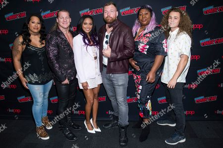 "Chris Jericho, Brandi Rhodes, Jonathan Good, Awesome Kong and Jungle Boy attend New York Comic Con to promote TNT's ""All Elite Wrestling: Dynamite"" at the Jacob K. Javits Convention Center, in New York"