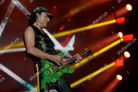 Stock Photo of Guitarist Matthias Jabs of the band Scorpions performs at the Rock in Rio music festival in Rio de Janeiro, Brazil, early . Jabs plays the same guitar that he used at the first Rock in Rio festival on 1985