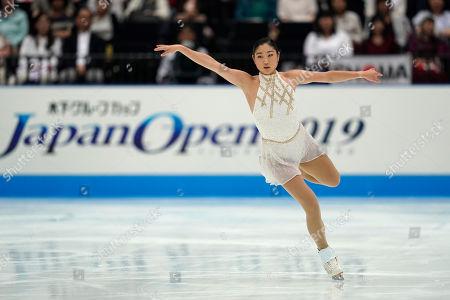 Mirai Nagasu of the United States performs her women's free skating routine during Japan Open figure skating team competition at Saitama Super Arena in Saitama, north of Tokyo