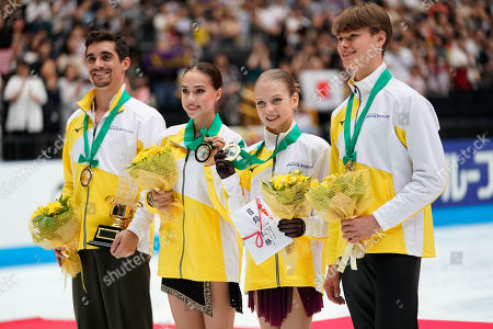 Gold medalists of team Europe, pose with their medals after an awarding ceremony of Japan Open figure skating team competition at Saitama Super Arena in Saitama. Gold medalists of team Europe, from left, Javier Fernandez of Spain, Alina Zagitova of Russia, Alexandra Trusova of Russia and Deniss Vasiljevs of Latvia pose with their medals after an awarding ceremony of the Japan Open figure skating team competition at the Saitama Super Arena in Saitama, Japan