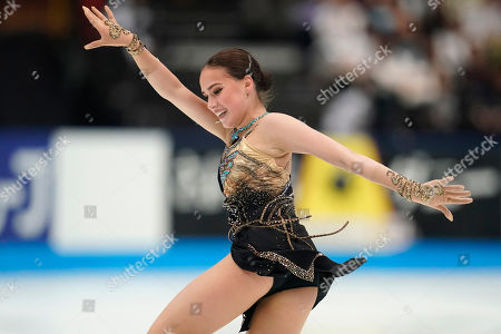 Stock Image of Alina Zagitova of Russia performs her women's free skating routine during the Japan Open figure skating team competition at the Saitama Super Arena in Saitama, Japan