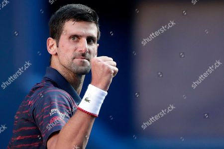 Novak Djokovic of Serbia celebrates a point against David Goffin of Belgium during the men's singles semifinal match at the Japan Open Tennis Championships in Tokyo, Japan, 05 October 2019.