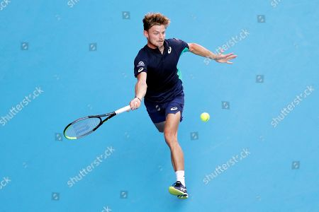David Goffin of Belgium in action against Novak Djokovic of Serbia during the men's singles semifinal match at the Japan Open Tennis Championships in Tokyo, Japan, 05 October 2019.