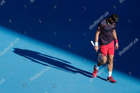 Novak Djokovic of Serbia reacts while playing against David Goffin of Belgium during the men's singles semifinal match at the Japan Open Tennis Championships in Tokyo, Japan, 05 October 2019.