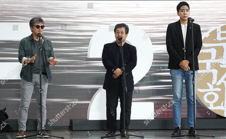 Kwon Hae-hyo (L), Ki Joo-bong (C) and Shin Suk-ho (R) speak on stage during the 24th Busan International Film Festival (BIFF) in Busan, South Korea, 05 October 2019. The BIFF will screen 303 films from 85 countries and run from 03 to 12 October 2019.
