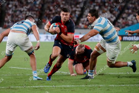 England's Ben Youngs scores a try against Argentina during the Rugby World Cup Pool C game at Tokyo Stadium in Tokyo, Japan