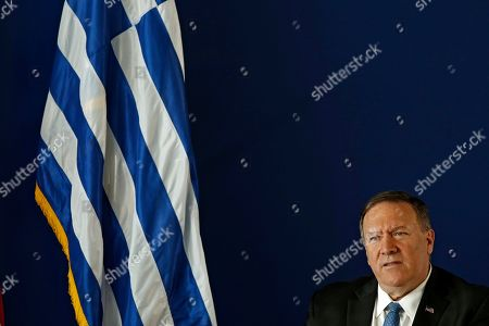 US State Secretary Mike Pompeo answers a question during a discussion at the Stavros Niarchos Foundation Cultural Centre (SNFCC), in Athens, Greece, 05 October 2019. Pompeo is on a two-days official visit to Greece.