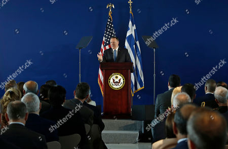 US State Secretary Mike Pompeo delivers his speech at the Stavros Niarchos Foundation Cultural Centre (SNFCC), in Athens, Greece, 05 October 2019. Pompeo is on a two-days official visit to Greece.