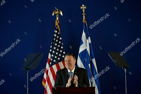 US State Secretary Mike Pompeo applauds as he delivers his speech at the Stavros Niarchos Foundation Cultural Centre (SNFCC), in Athens, Greece, 05 October 2019. Pompeo is on a two-days official visit to Greece.