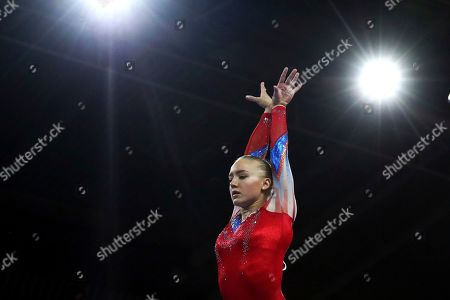 Lieke Wevers of the Netherlands performs on the balance beam during qualifying sessions for the Gymnastics World Championships in Stuttgart, Germany