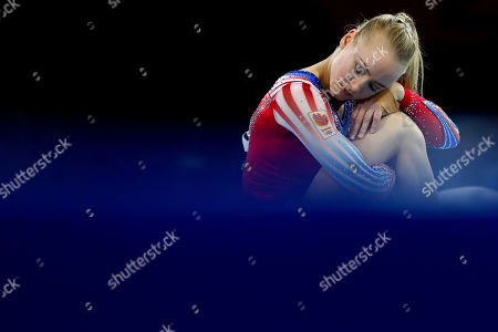 Stock Image of Lieke Wevers of the Netherlands performs on the floor during qualifying sessions for the Gymnastics World Championships in Stuttgart, Germany