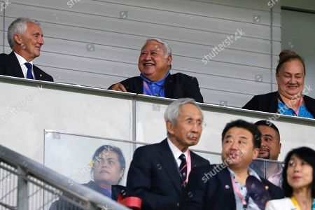 Stock Picture of Samoa's Prime Minister Tuilaepa Sailele Malielegaoi, center top, watches the Rugby World Cup Pool A game at City of Toyota Stadium between Japan and Samoa, in Toyota, Japan