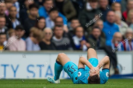Ben Davies (Tottenham) lying injured as the game continues during the Premier League match between Brighton and Hove Albion and Tottenham Hotspur at the American Express Community Stadium, Brighton and Hove