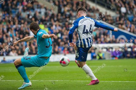 GOAL: Aaron Connolly (Brighton) scores a goal getting the ball past Ben Davies (Tottenham) during the Premier League match between Brighton and Hove Albion and Tottenham Hotspur at the American Express Community Stadium, Brighton and Hove