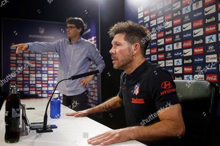 Atletico Madrid's head coach Diego Simeone during a team's press conference at Wanda Sport Complex in Majadahonda, Spain, 05 October 2019. The team prepares for its upcoming LaLiga match against Valladolid.