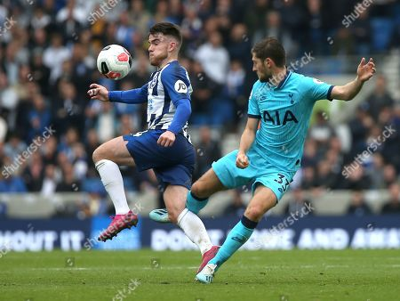 Brighton's Aaron Connolly (L) and Tottenham's Ben Davies (R) during an English Premier League soccer match between Brighton & Hove Albion and Tottenham Hotspur at the Amex Stadium in Brighton, Britain 5 October 2019.