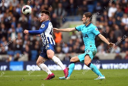 Stock Image of Brighton's Aaron Connolly (L) and Tottenham's Ben Davies (R) during an English Premier League soccer match between Brighton & Hove Albion and Tottenham Hotspur at the Amex Stadium in Brighton, Britain 5 October 2019.