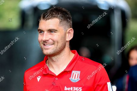 Stoke City forward Sam Vokes (9) arrives at the stadium ahead of the EFL Sky Bet Championship match between Swansea City and Stoke City at the Liberty Stadium, Swansea