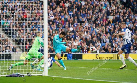 Son Heung-Min of Tottenham miss hits a shot at goal.