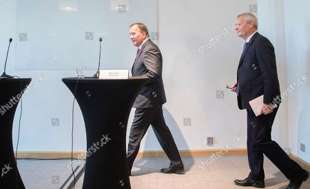 Finnish Prime Minister Antti Rinne (R) and his Swedish counterpart Stefan Lofven (L) hold a joint press conference after their meeting in Helsinki, Finland, 05 October 2019.