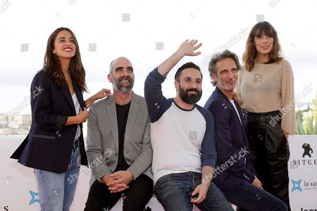 Macarena Garcia and Luis Tosar, film director Aritz Moreno and actors/cast members Ernesto Alterio and Belen Cuesta pose during the presentation of the movie 'Ventajas de viajar en tren' (Advantages of Travelling by Train) at the 52nd Sitges International Fantastic Film Festival, in Sitges, Barcelona, Spain, 05 October 2019. The festival runs from 03 to 13 October.