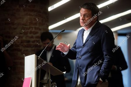 Former French Prime Minister Manuel Valls (R) delivers a speech during an event to mark the rallies supporting the unity of Spain, in Barcelona, Catalonia, Spain, 05 October 2019. The event, organized by pro-Spain group Societat Civil Catalana (Catalan Civil Society), mark the demonstrations organized on 08 and 27 October 2017 after the 10/1 independence referendum held in Catalonia.