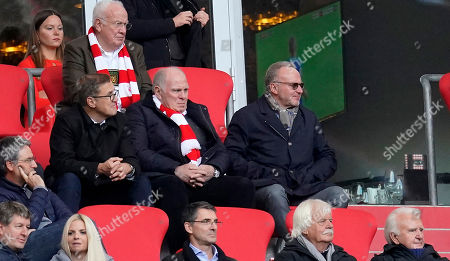 Stock Picture of Bayern's president Uli Hoeness (L) and Bayern's chairman of the board Karl-Heinz Rummenigge (R) on the stand during the German Bundesliga soccer match between FC Bayern Munich and TSG 1899 Hoffenheim in Munich, Germany, 05 October 2019.