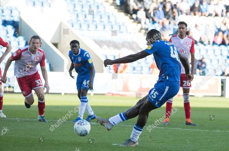Frank Nouble of Colchester United converts from the penalty spot to give the hosts the lead during Colchester United vs Stevenage, Sky Bet EFL League 2 Football at the JobServe Community Stadium on 5th October 2019