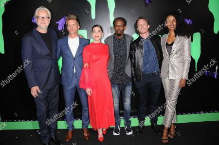 Tim Robbins, Paul Sparks, Lizzy Caplan, Barkhad Abdi, Matthew Alan and Yusra Warsama attend the Huluween Celebration held at Huluween HQ in New York City.
