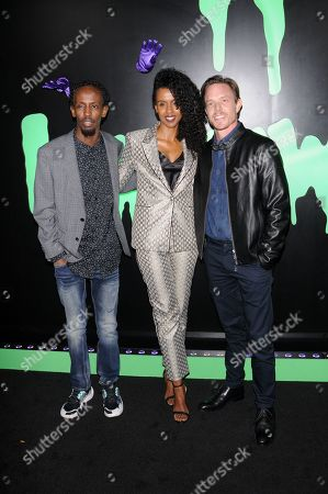 Barkhad Abdi, Yusra Warsama and Matthew Alan attend the Huluween Celebration held at Huluween HQ in New York City.