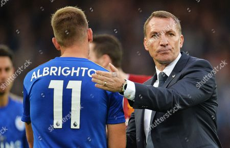 Stock Picture of Leicester manager Brendan Rogers (R) and player Marc Albrighton after the English Premier League match between Liverpool FC and Leicester City at Anfield, Liverpool, Britain, 05 October 2019. Liverpool won 2-1.
