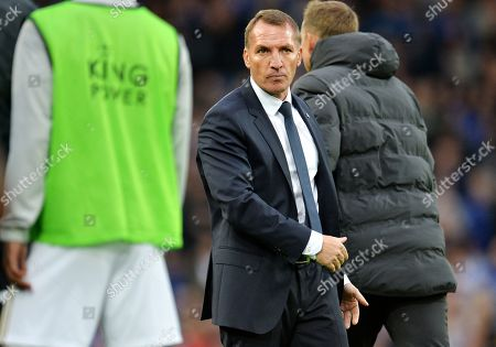 Leicester manager Brendan Rodgers after the English Premier League match between Liverpool FC and Leicester City at Anfield, Liverpool, Britain, 05 October 2019.
