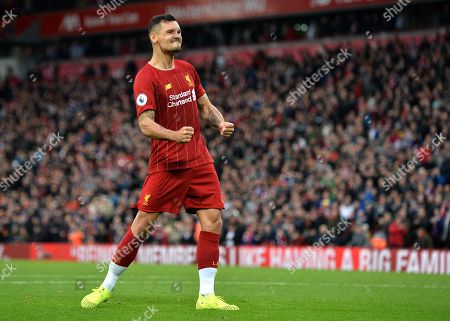 Liverpool defender Dejan Lovren celebrates after the English Premier League match between Liverpool FC and Leicester City at Anfield, Liverpool, Britain, 05 October 2019.