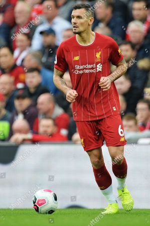 Liverpool defender Dejan Lovren in action during the English Premier League match between Liverpool FC and Leicester City at Anfield, Liverpool, Britain, 05 October 2019.