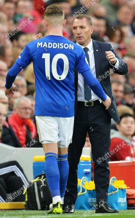 James Maddison (L) of Lieicester is taken off and shakes hands with Leicester manager Brendan Rodgers during the English Premier League match between Liverpool FC and Leicester City at Anfield, Liverpool, Britain, 05 October 2019. Liverpool won 2-1.