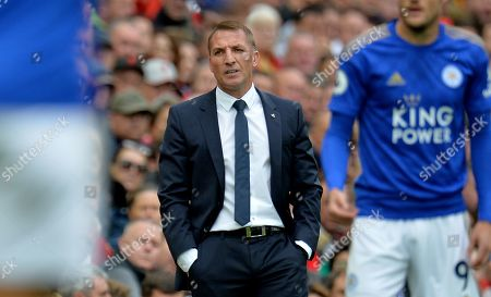 Stock Photo of Leicester City manager Brendan Rogers reacts during the English Premier League match between Liverpool FC and Leicester City at Anfield, Liverpool, Britain, 05 October 2019.