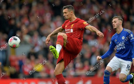 Liverpool's Dejan Lovren in action during the English Premier League match between Liverpool FC and Leicester City at Anfield, Liverpool, Britain, 05 October 2019.