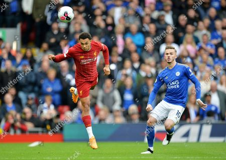 Trent Alexander-Arnold (L) Liverpool in action against James Maddison of Leicester during the English Premier League match between Liverpool FC and Leicester City at Anfield, Liverpool, Britain, 05 October 2019.