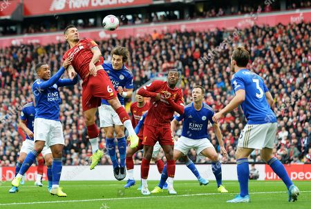 Dejan Lovren (2L) Liverpool in action against Youri Tielemans (L) and Caglar Soyuncu (3L) of Leicester during the English Premier League match between Liverpool FC and Leicester City at Anfield, Liverpool, Britain, 05 October 2019.