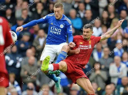 Dejan Lovren (R) of Liverpool in action against Jamie Vardy of Leicester during the English Premier League match between Liverpool FC and Leicester City at Anfield, Liverpool, Britain, 05 October 2019.