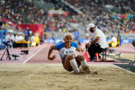 Jazmin Sawyers, of Britain, competes in the women's long jump qualification at the World Athletics Championships in Doha, Qatar