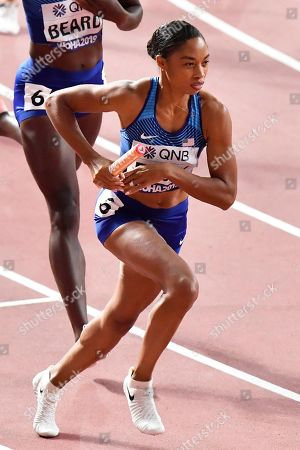 Allyson Felix of the United States competes in her heat of the women's 4x400 meter relay during the World Athletics Championships in Doha, Qatar